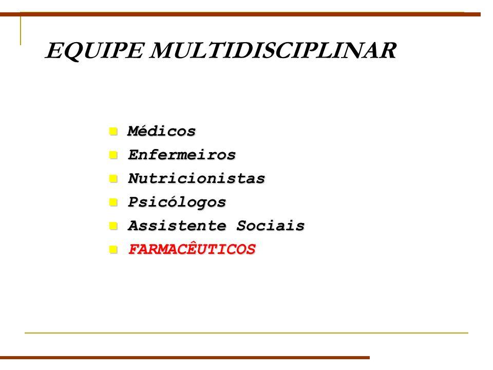 EQUIPE MULTIDISCIPLINAR Médicos Médicos Enfermeiros Enfermeiros Nutricionistas Nutricionistas Psicólogos Psicólogos Assistente Sociais Assistente Sociais FARMACÊUTICOS FARMACÊUTICOS