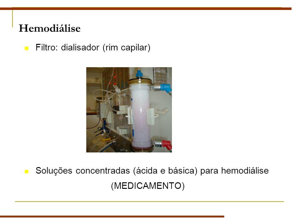 Hemodiálise Filtro: dialisador (rim capilar) Soluções concentradas (ácida e básica) para hemodiálise (MEDICAMENTO)