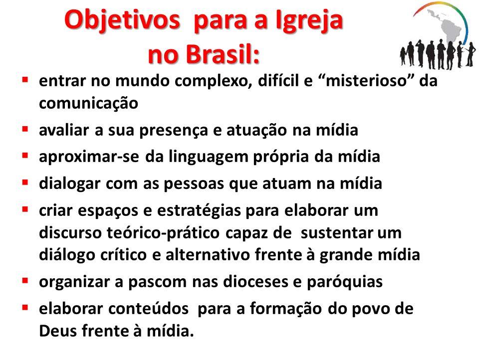 Objetivos para a Igreja no Brasil: entrar no mundo complexo, difícil e misterioso da comunicação avaliar a sua presença e atuação na mídia aproximar-s