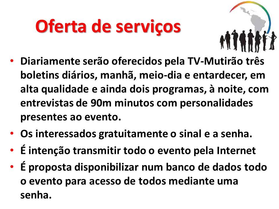 Oferta de serviços Diariamente serão oferecidos pela TV-Mutirão três boletins diários, manhã, meio-dia e entardecer, em alta qualidade e ainda dois pr