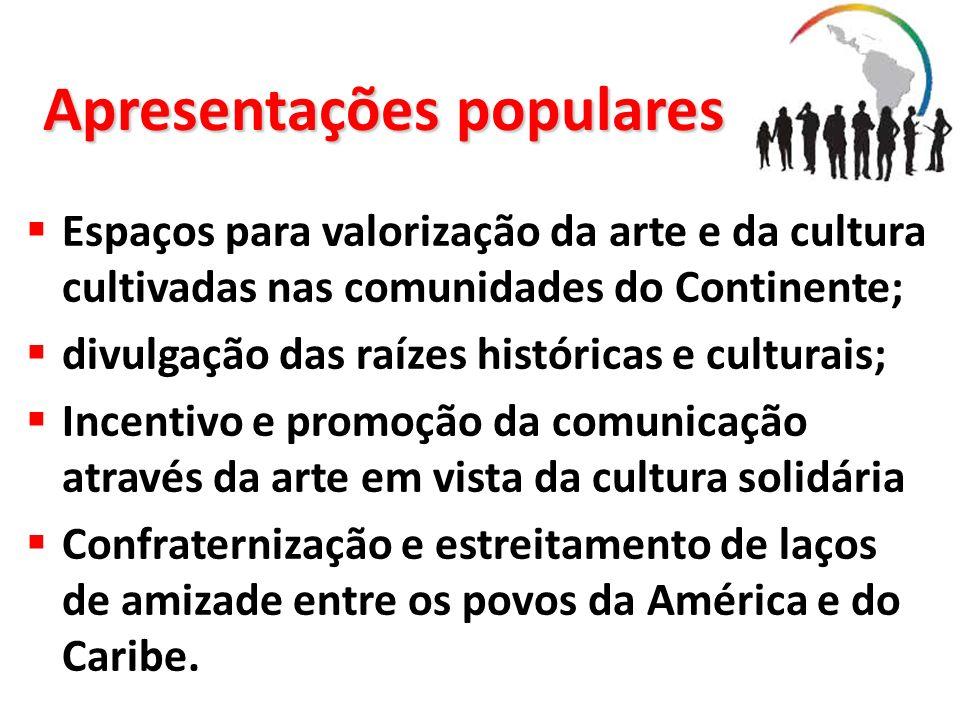 Apresentações populares Espaços para valorização da arte e da cultura cultivadas nas comunidades do Continente; divulgação das raízes históricas e cul