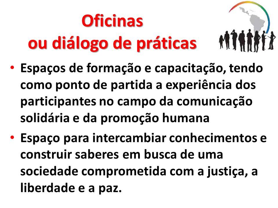 Oficinas ou diálogo de práticas Espaços de formação e capacitação, tendo como ponto de partida a experiência dos participantes no campo da comunicação