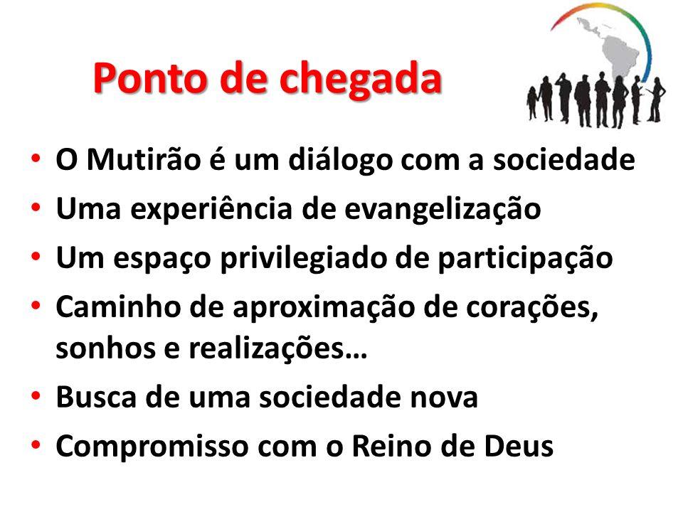 Ponto de chegada O Mutirão é um diálogo com a sociedade Uma experiência de evangelização Um espaço privilegiado de participação Caminho de aproximação