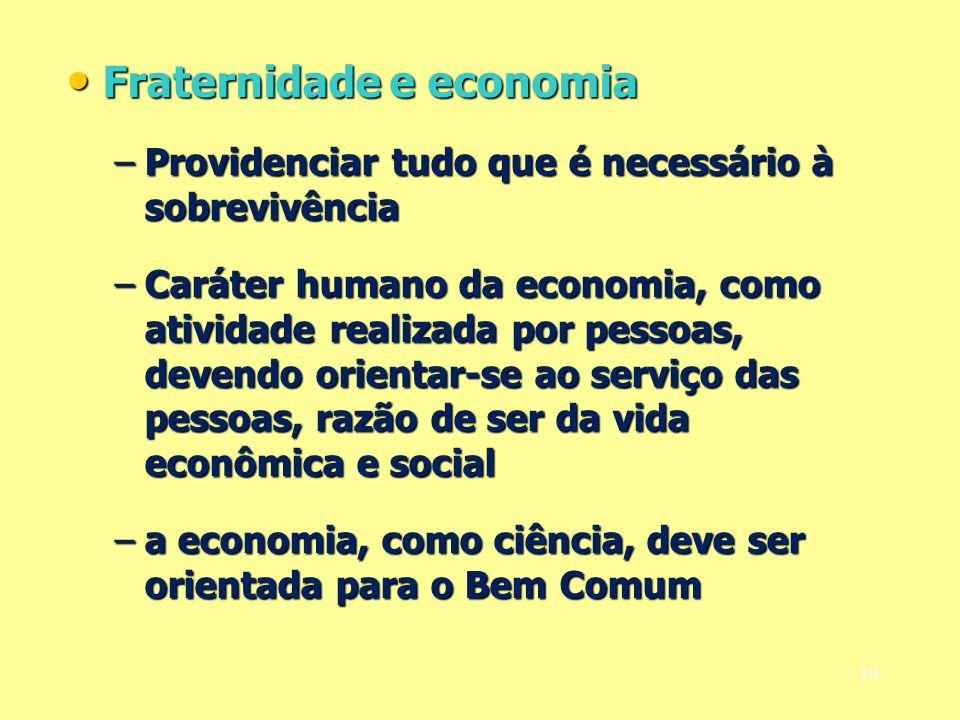 Fraternidade e economia Fraternidade e economia –Providenciar tudo que é necessário à sobrevivência –Caráter humano da economia, como atividade realiz