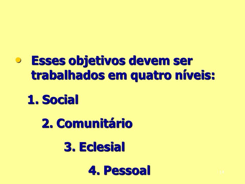 Esses objetivos devem ser trabalhados em quatro níveis: Esses objetivos devem ser trabalhados em quatro níveis: 1. Social 2. Comunitário 3. Eclesial 4