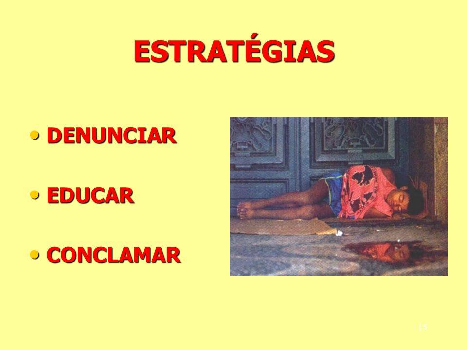 ESTRATÉGIAS DENUNCIAR DENUNCIAR EDUCAR EDUCAR CONCLAMAR CONCLAMAR 15