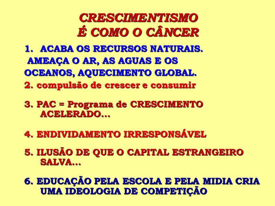CRESCIMENTISMO É COMO O CÂNCER 1.ACABA OS RECURSOS NATURAIS. AMEAÇA O AR, AS AGUAS E OS AMEAÇA O AR, AS AGUAS E OS OCEANOS, AQUECIMENTO GLOBAL. 2. com