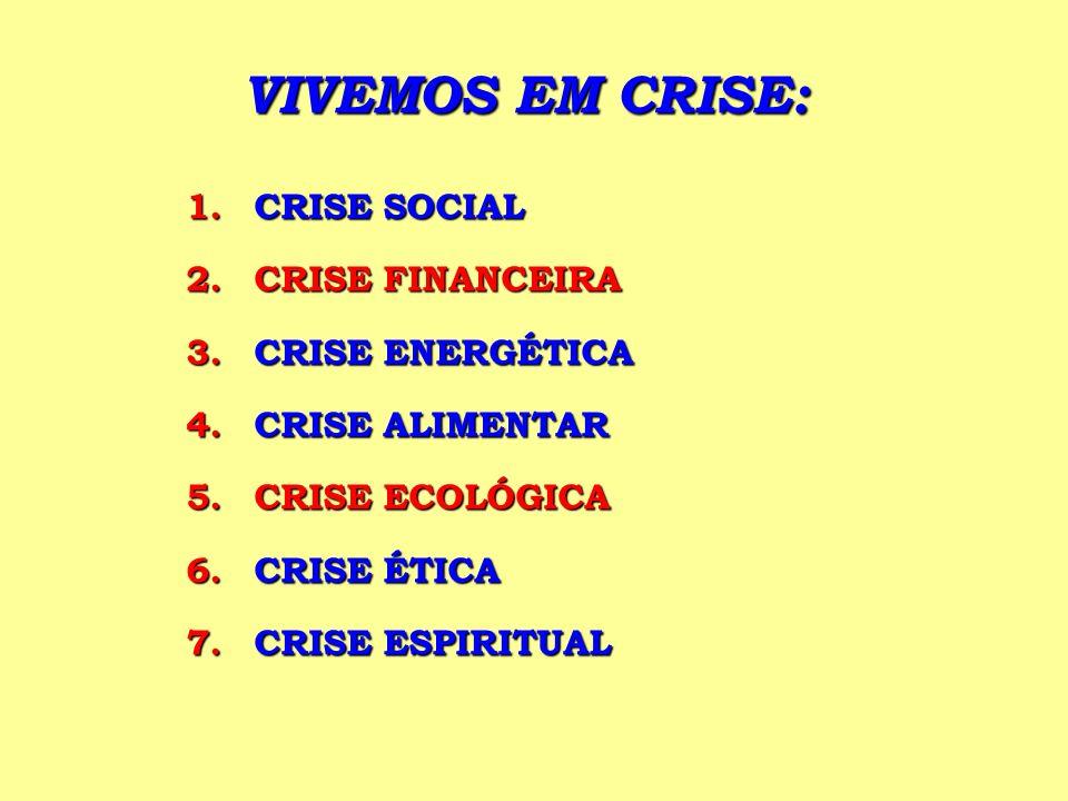 VIVEMOS EM CRISE: 1.CRISE SOCIAL 2.CRISE FINANCEIRA 3.CRISE ENERGÉTICA 4.CRISE ALIMENTAR 5.CRISE ECOLÓGICA 6.CRISE ÉTICA 7.CRISE ESPIRITUAL