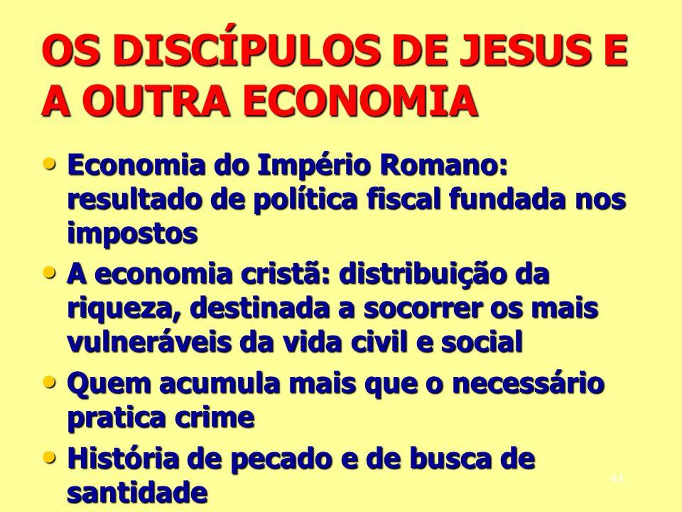 OS DISCÍPULOS DE JESUS E A OUTRA ECONOMIA Economia do Império Romano: resultado de política fiscal fundada nos impostos Economia do Império Romano: re