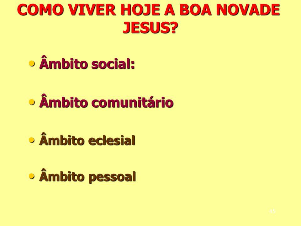 COMO VIVER HOJE A BOA NOVADE JESUS? Âmbito social: Âmbito social: Âmbito comunitário Âmbito comunitário Âmbito eclesial Âmbito eclesial Âmbito pessoal