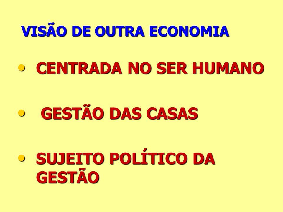 VISÃO DE OUTRA ECONOMIA VISÃO DE OUTRA ECONOMIA CENTRADA NO SER HUMANO CENTRADA NO SER HUMANO GESTÃO DAS CASAS GESTÃO DAS CASAS SUJEITO POLÍTICO DA GE
