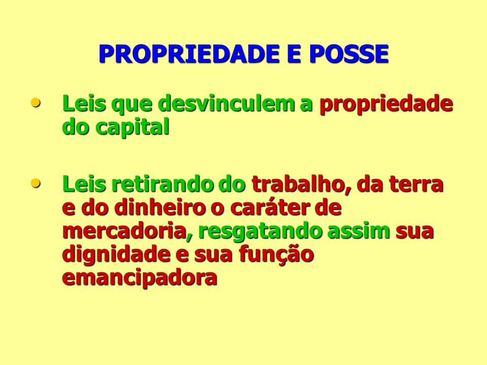 PROPRIEDADE E POSSE Leis que desvinculem a propriedade do capital Leis que desvinculem a propriedade do capital Leis retirando do trabalho, da terra e