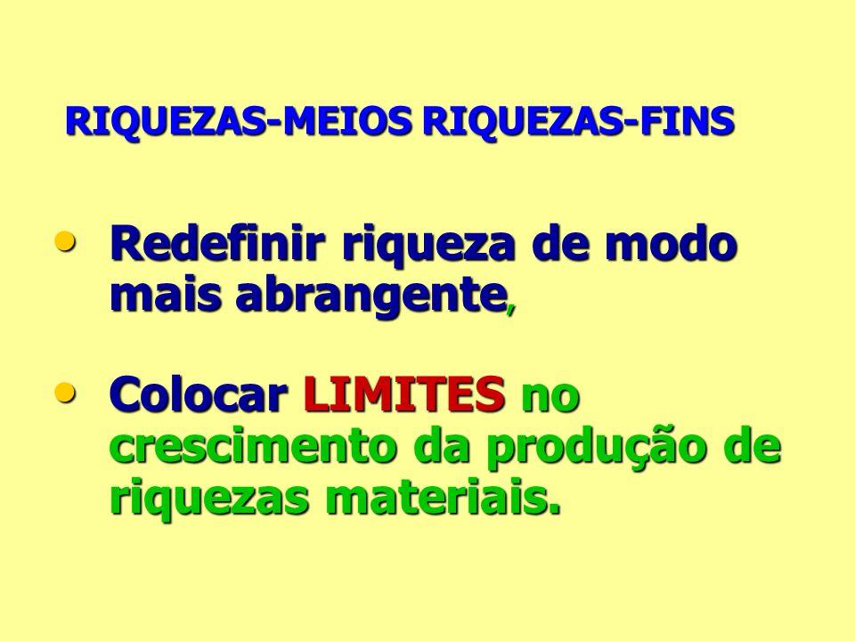 RIQUEZAS-MEIOS RIQUEZAS-FINS RIQUEZAS-MEIOS RIQUEZAS-FINS Redefinir riqueza de modo mais abrangente, Redefinir riqueza de modo mais abrangente, Coloca