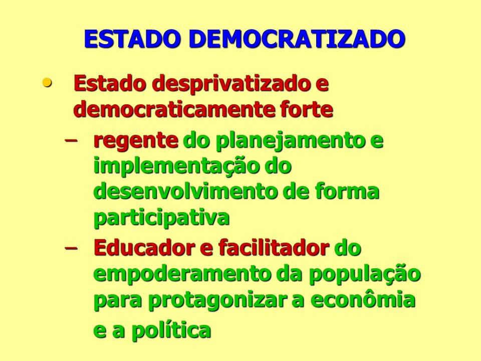 ESTADO DEMOCRATIZADO ESTADO DEMOCRATIZADO Estado desprivatizado e democraticamente forte Estado desprivatizado e democraticamente forte –regente do pl