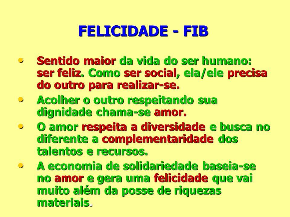 FELICIDADE - FIB Sentido maior da vida do ser humano: ser feliz. Como ser social, ela/ele precisa do outro para realizar-se. Sentido maior da vida do