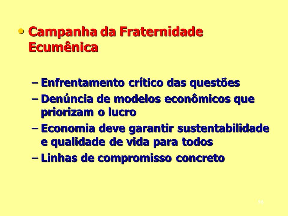 Campanha da Fraternidade Ecumênica Campanha da Fraternidade Ecumênica –Enfrentamento crítico das questões –Denúncia de modelos econômicos que prioriza