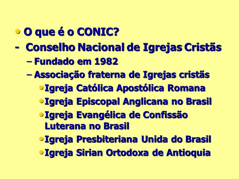 O que é o CONIC? O que é o CONIC? - Conselho Nacional de Igrejas Cristãs –Fundado em 1982 –Associação fraterna de Igrejas cristãs Igreja Católica Apos
