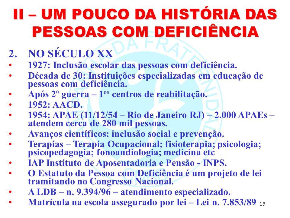 15 II – UM POUCO DA HISTÓRIA DAS PESSOAS COM DEFICIÊNCIA 2.NO SÉCULO XX 1927: Inclusão escolar das pessoas com deficiência.