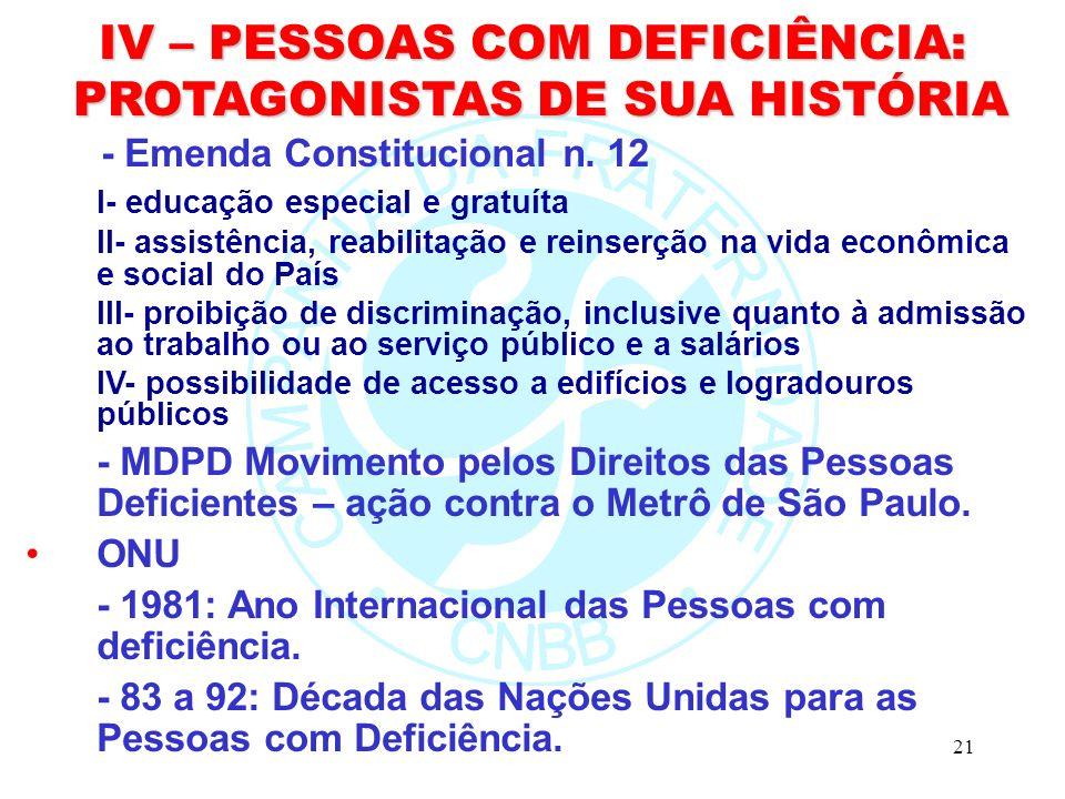 21 IV – PESSOAS COM DEFICIÊNCIA: PROTAGONISTAS DE SUA HISTÓRIA PROTAGONISTAS DE SUA HISTÓRIA - Emenda Constitucional n.
