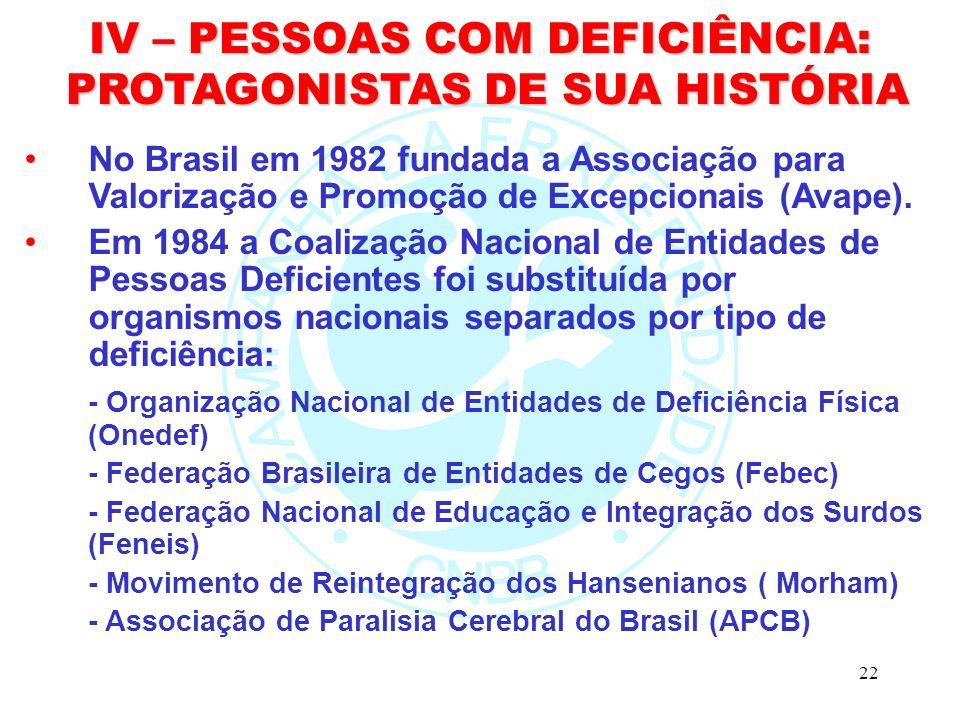 22 IV – PESSOAS COM DEFICIÊNCIA: PROTAGONISTAS DE SUA HISTÓRIA PROTAGONISTAS DE SUA HISTÓRIA No Brasil em 1982 fundada a Associação para Valorização e Promoção de Excepcionais (Avape).
