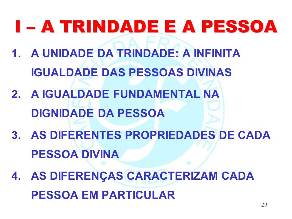 29 I – A TRINDADE E A PESSOA 1.A UNIDADE DA TRINDADE: A INFINITA IGUALDADE DAS PESSOAS DIVINAS 2.A IGUALDADE FUNDAMENTAL NA DIGNIDADE DA PESSOA 3.AS DIFERENTES PROPRIEDADES DE CADA PESSOA DIVINA 4.AS DIFERENÇAS CARACTERIZAM CADA PESSOA EM PARTICULAR