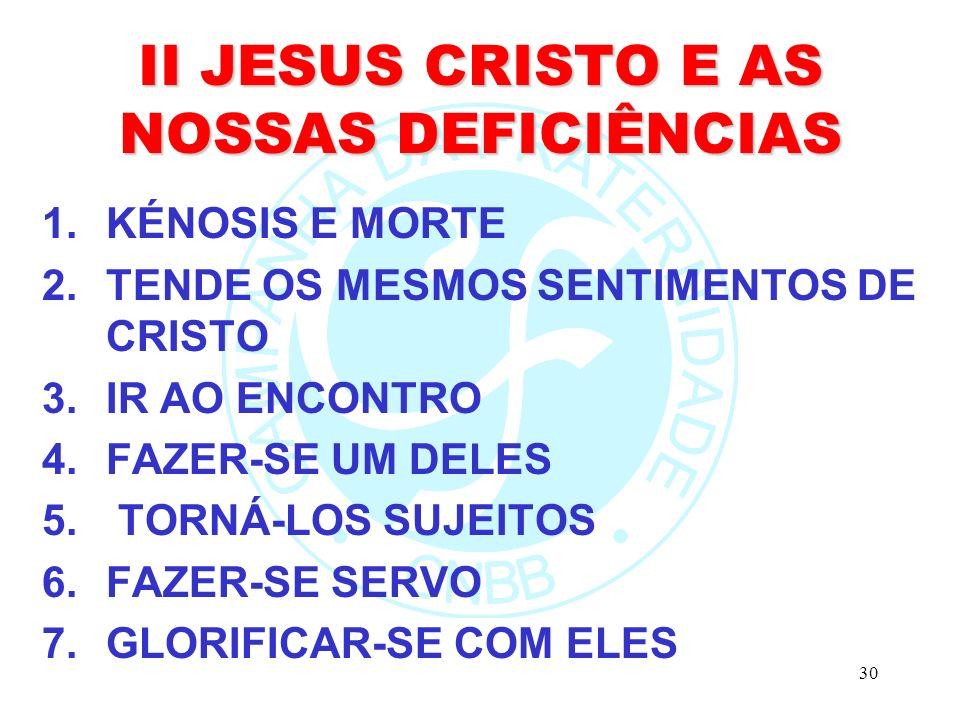 30 II JESUS CRISTO E AS NOSSAS DEFICIÊNCIAS 1.KÉNOSIS E MORTE 2.TENDE OS MESMOS SENTIMENTOS DE CRISTO 3.IR AO ENCONTRO 4.FAZER-SE UM DELES 5.
