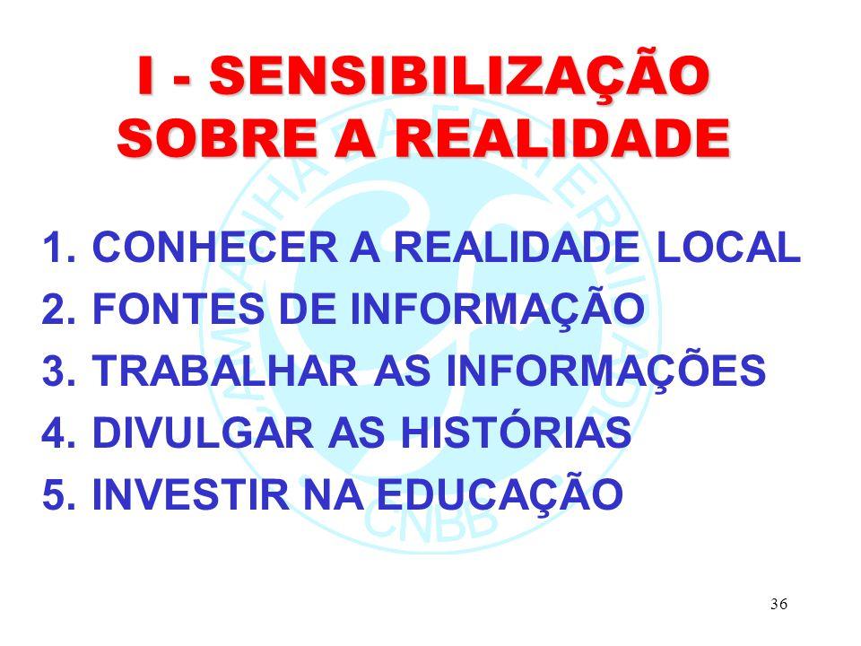 36 I - SENSIBILIZAÇÃO SOBRE A REALIDADE 1.CONHECER A REALIDADE LOCAL 2.FONTES DE INFORMAÇÃO 3.TRABALHAR AS INFORMAÇÕES 4.DIVULGAR AS HISTÓRIAS 5.INVESTIR NA EDUCAÇÃO