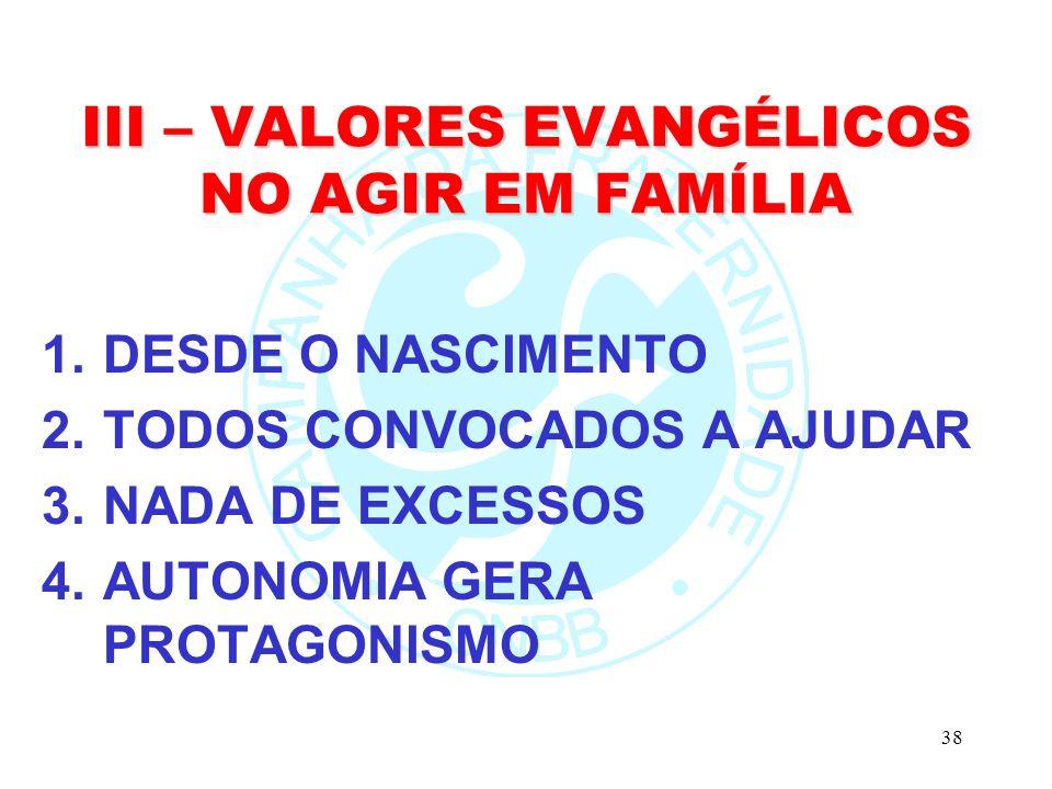 38 III – VALORES EVANGÉLICOS NO AGIR EM FAMÍLIA 1.DESDE O NASCIMENTO 2.TODOS CONVOCADOS A AJUDAR 3.NADA DE EXCESSOS 4.AUTONOMIA GERA PROTAGONISMO