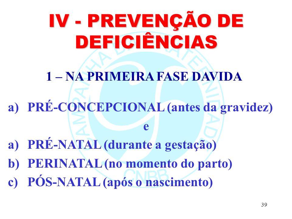 39 IV - PREVENÇÃO DE DEFICIÊNCIAS a)PRÉ-CONCEPCIONAL (antes da gravidez) e a)PRÉ-NATAL (durante a gestação) b)PERINATAL (no momento do parto) c)PÓS-NATAL (após o nascimento) 1 – NA PRIMEIRA FASE DAVIDA