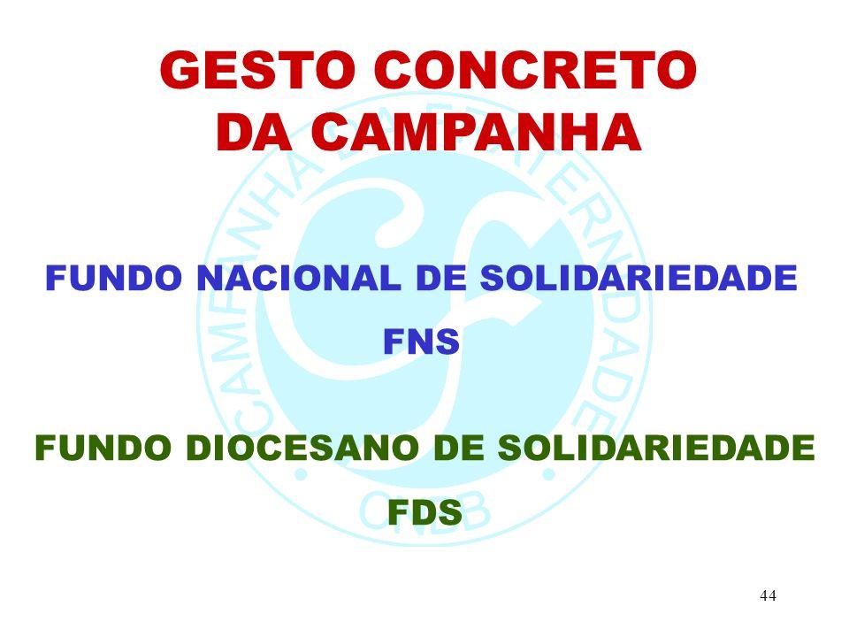 44 GESTO CONCRETO DA CAMPANHA FUNDO NACIONAL DE SOLIDARIEDADE FNS FUNDO DIOCESANO DE SOLIDARIEDADE FDS