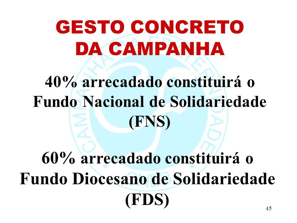 45 60% arrecadado constituirá o Fundo Diocesano de Solidariedade (FDS) 40% arrecadado constituirá o Fundo Nacional de Solidariedade (FNS) GESTO CONCRETO DA CAMPANHA
