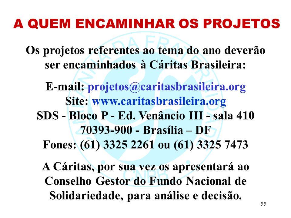 55 Os projetos referentes ao tema do ano deverão ser encaminhados à Cáritas Brasileira: E-mail: projetos@caritasbrasileira.org Site: www.caritasbrasileira.org SDS - Bloco P - Ed.