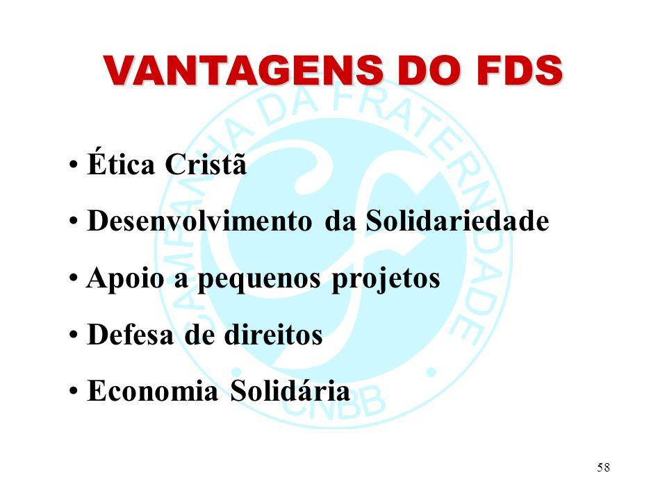 58 VANTAGENS DO FDS Ética Cristã Desenvolvimento da Solidariedade Apoio a pequenos projetos Defesa de direitos Economia Solidária
