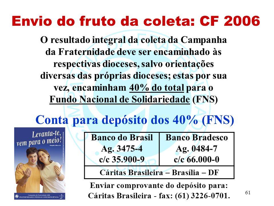 61 Envio do fruto da coleta: CF 2006 O resultado integral da coleta da Campanha da Fraternidade deve ser encaminhado às respectivas dioceses, salvo orientações diversas das próprias dioceses; estas por sua vez, encaminham 40% do total para o Fundo Nacional de Solidariedade (FNS) Conta para depósito dos 40% (FNS) Enviar comprovante do depósito para: Cáritas Brasileira - fax: (61) 3226-0701.