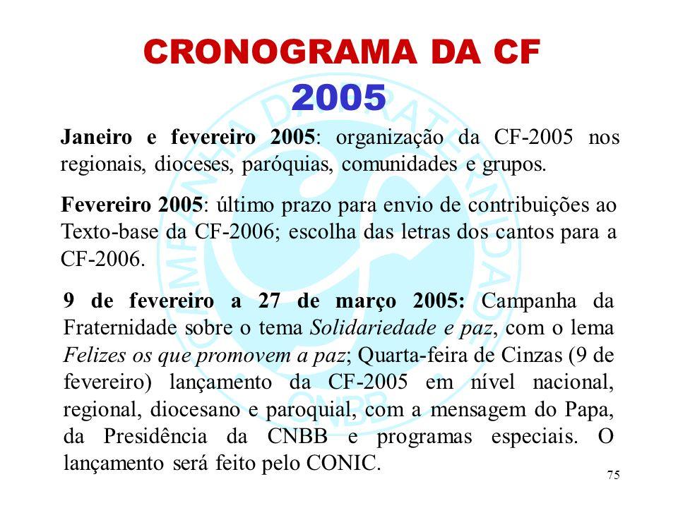 75 2005 CRONOGRAMA DA CF Janeiro e fevereiro 2005: organização da CF-2005 nos regionais, dioceses, paróquias, comunidades e grupos.