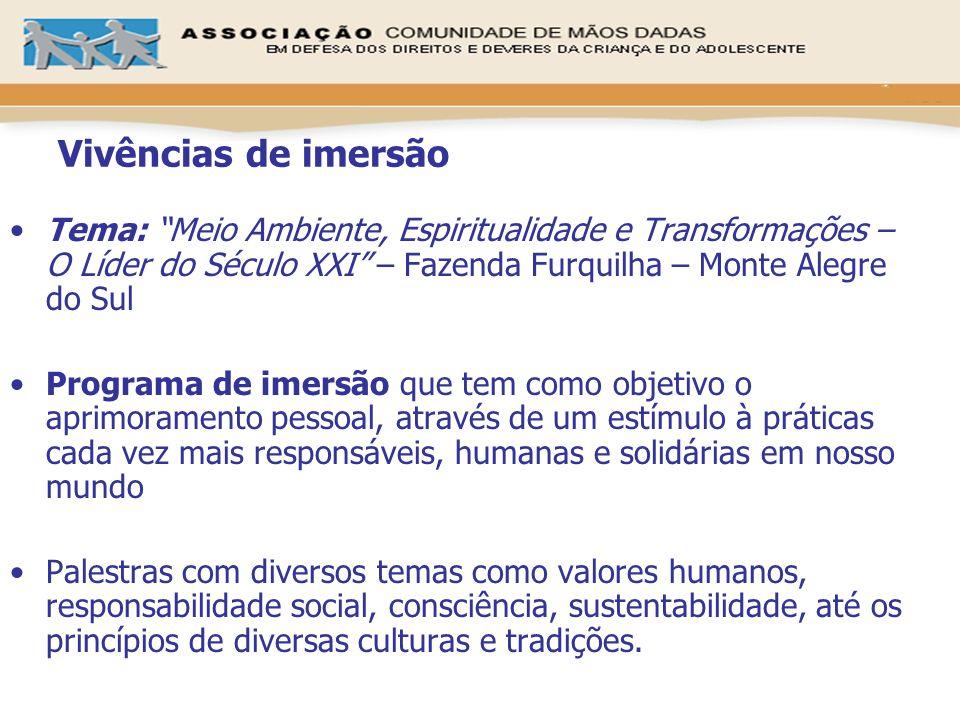 Vivências de imersão Tema: Meio Ambiente, Espiritualidade e Transformações – O Líder do Século XXI – Fazenda Furquilha – Monte Alegre do Sul Programa