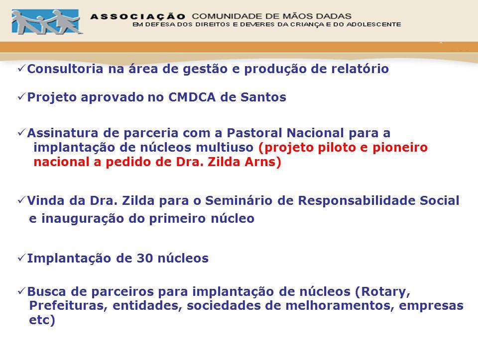 Consultoria na área de gestão e produção de relatório Projeto aprovado no CMDCA de Santos Assinatura de parceria com a Pastoral Nacional para a implan