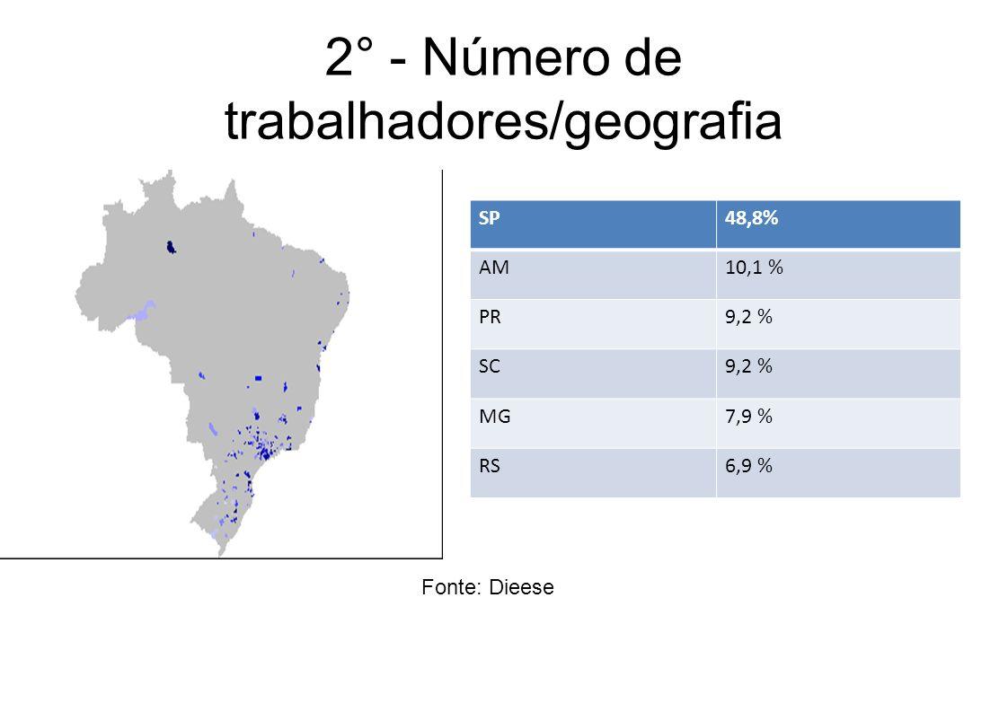 2° - Número de trabalhadores/geografia Fonte: Dieese SP48,8% AM10,1 % PR9,2 % SC9,2 % MG7,9 % RS6,9 %