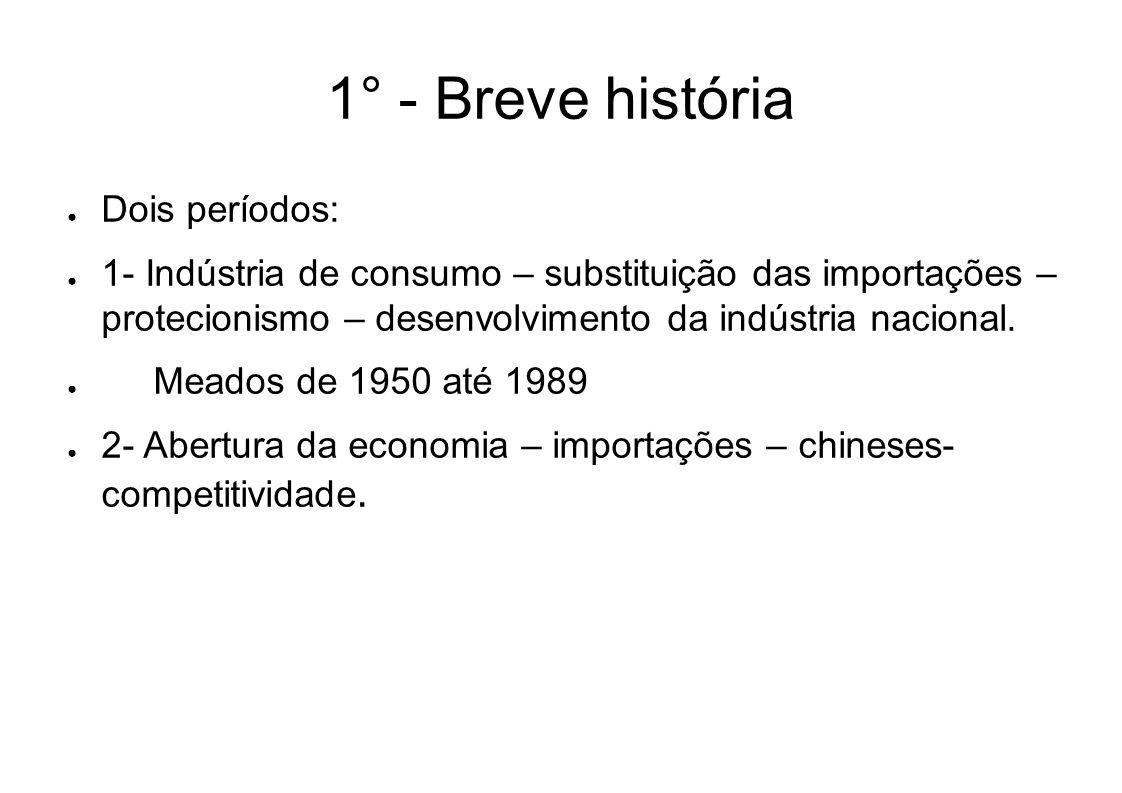 1° - Breve história Dois períodos: 1- Indústria de consumo – substituição das importações – protecionismo – desenvolvimento da indústria nacional. Mea
