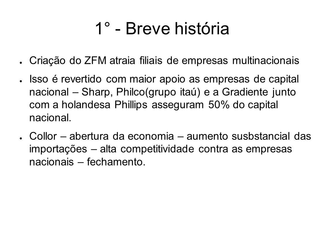 1° - Breve história Criação do ZFM atraia filiais de empresas multinacionais Isso é revertido com maior apoio as empresas de capital nacional – Sharp,