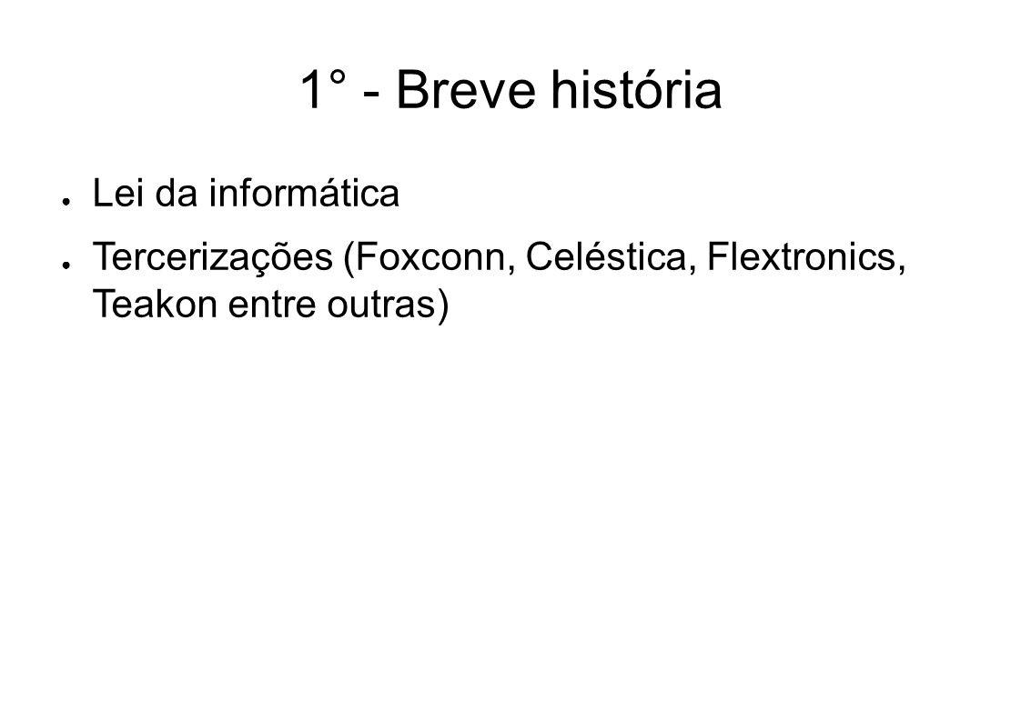 1° - Breve história Lei da informática Tercerizações (Foxconn, Celéstica, Flextronics, Teakon entre outras)