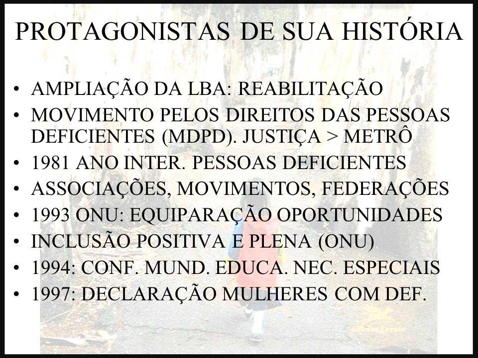 PROTAGONISTAS DE SUA HISTÓRIA AMPLIAÇÃO DA LBA: REABILITAÇÃO MOVIMENTO PELOS DIREITOS DAS PESSOAS DEFICIENTES (MDPD). JUSTIÇA > METRÔ 1981 ANO INTER.