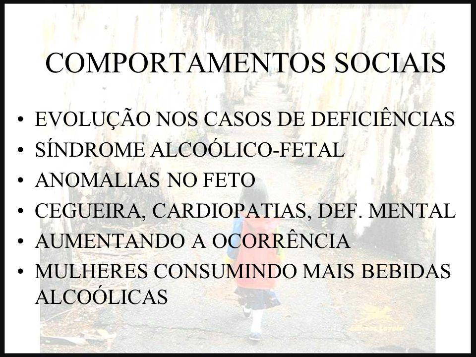 COMPORTAMENTOS SOCIAIS EVOLUÇÃO NOS CASOS DE DEFICIÊNCIAS SÍNDROME ALCOÓLICO-FETAL ANOMALIAS NO FETO CEGUEIRA, CARDIOPATIAS, DEF. MENTAL AUMENTANDO A