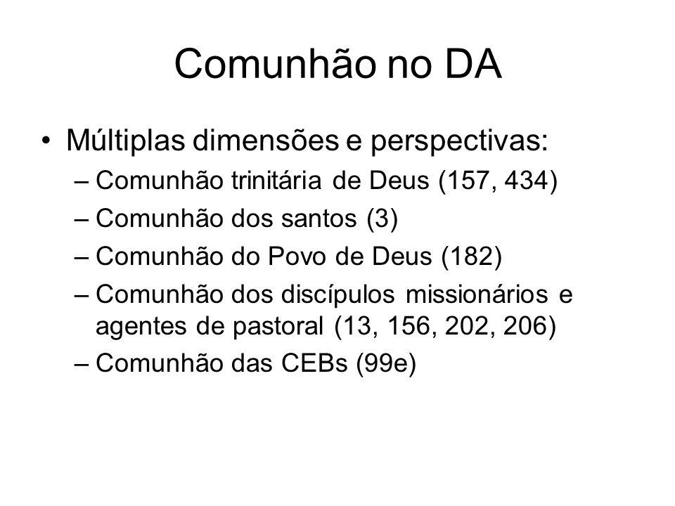 Comunhão no DA Múltiplas dimensões e perspectivas: –Comunhão trinitária de Deus (157, 434) –Comunhão dos santos (3) –Comunhão do Povo de Deus (182) –C