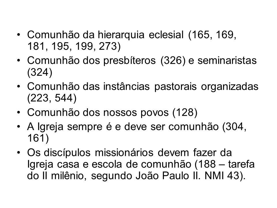 Comunhão da hierarquia eclesial (165, 169, 181, 195, 199, 273) Comunhão dos presbíteros (326) e seminaristas (324) Comunhão das instâncias pastorais o
