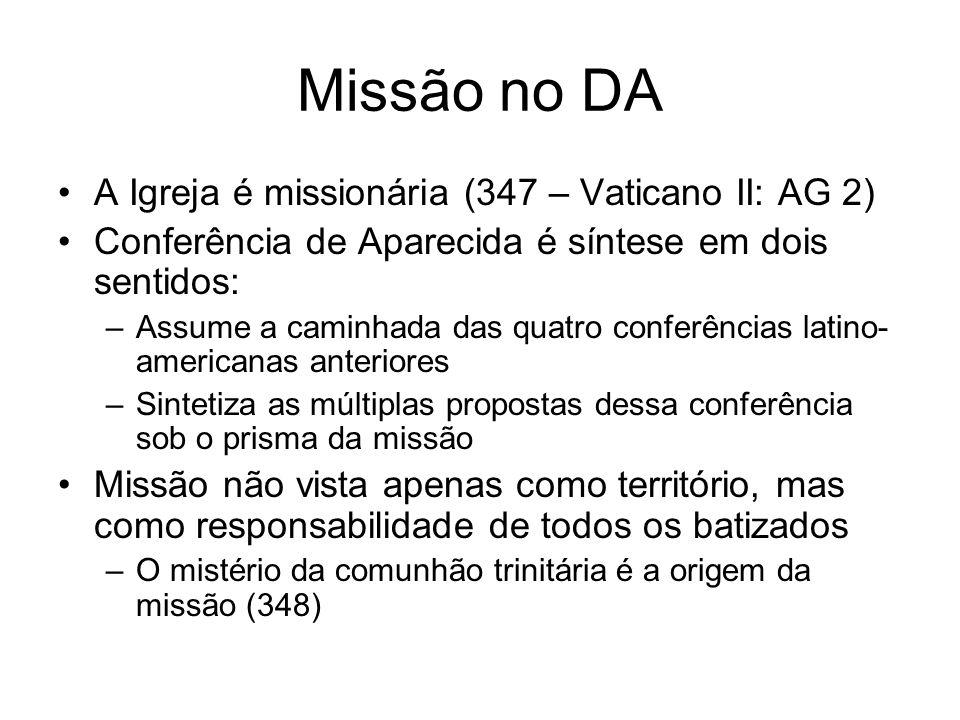 Missão no DA A Igreja é missionária (347 – Vaticano II: AG 2) Conferência de Aparecida é síntese em dois sentidos: –Assume a caminhada das quatro conf