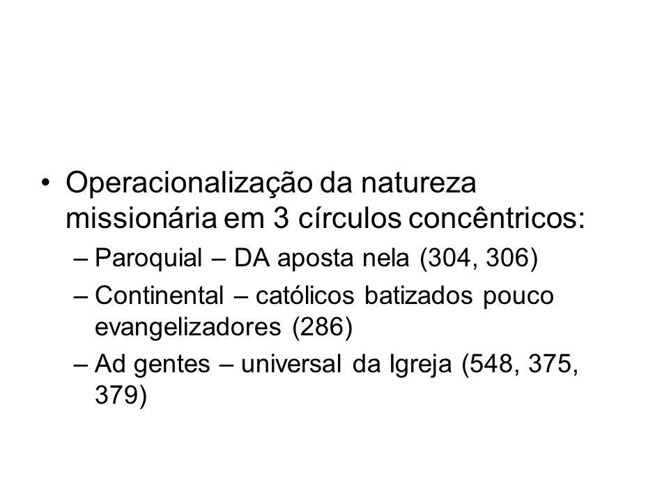 Operacionalização da natureza missionária em 3 círculos concêntricos: –Paroquial – DA aposta nela (304, 306) –Continental – católicos batizados pouco