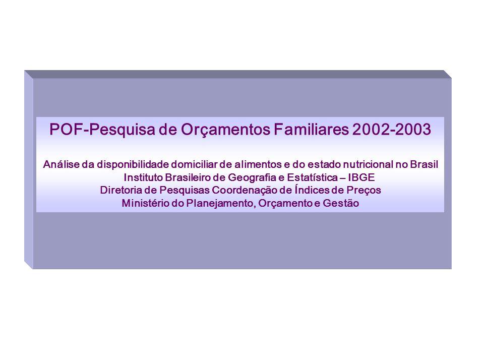 POF-Pesquisa de Orçamentos Familiares 2002-2003 Análise da disponibilidade domiciliar de alimentos e do estado nutricional no Brasil Instituto Brasile