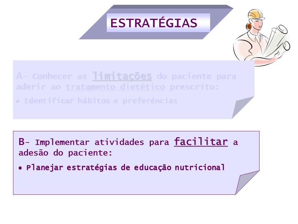 ESTRATÉGIAS facilitar B - Implementar atividades para facilitar a adesão do paciente: Planejar estratégias de educação nutricional limitações A - Conh