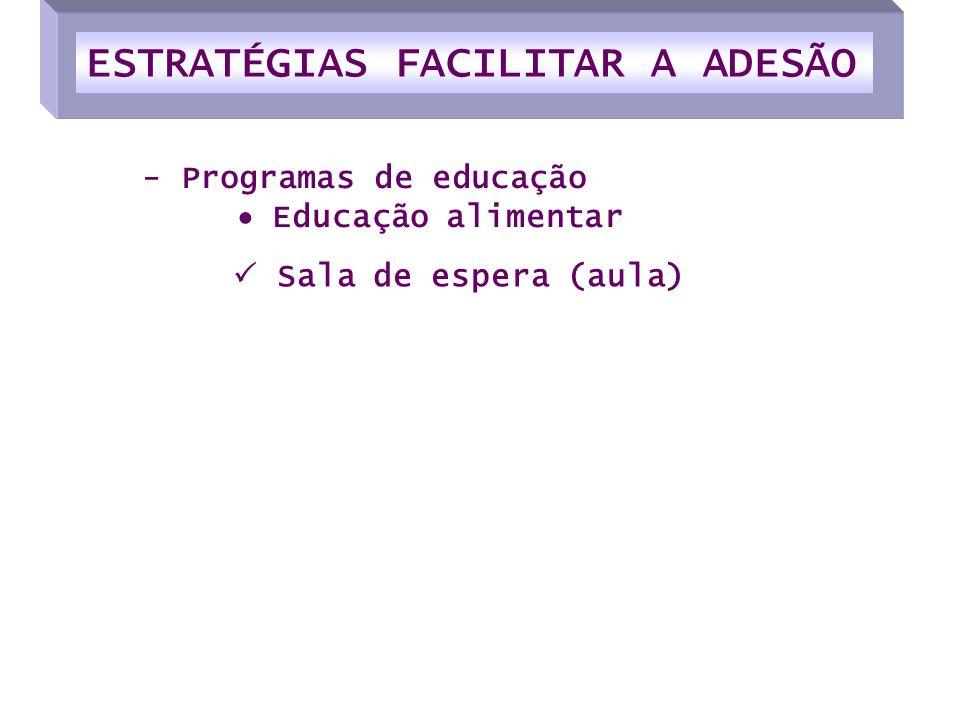 Sala de espera (aula) - Programas de educação Educação alimentar ESTRATÉGIAS FACILITAR A ADESÃO